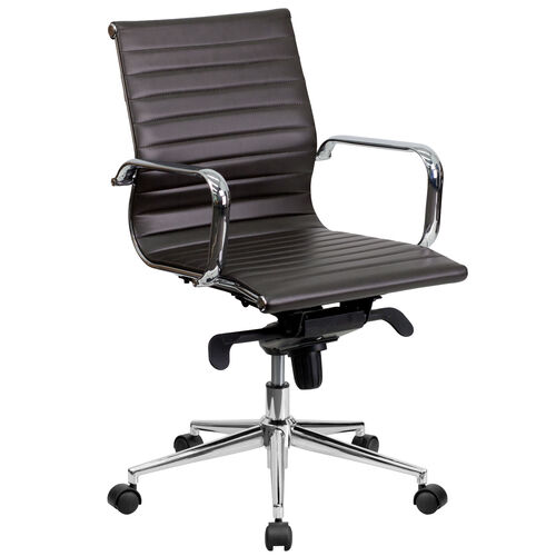 Our Mid-Back Brown Ribbed Leather Swivel Conference Office Chair with Knee-Tilt Control and Arms is on sale now.