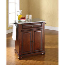 Solid Granite Top Portable Kitchen Island with Alexandria Feet - Vintage Mahogany Finish