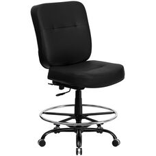 HERCULES Series Big & Tall 400 lb. Rated Black Leather Ergonomic Drafting Chair