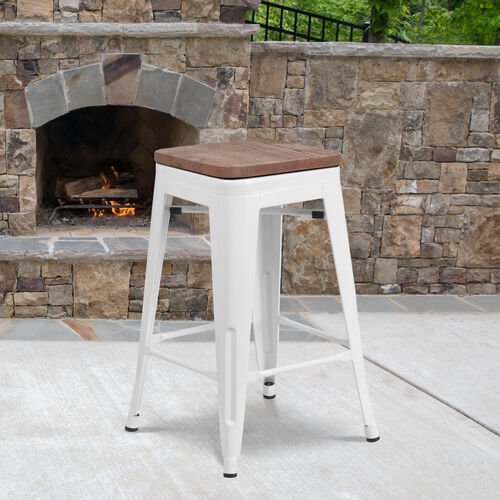"""24"""" High Backless White Metal Counter Height Stool with Square Wood Seat"""