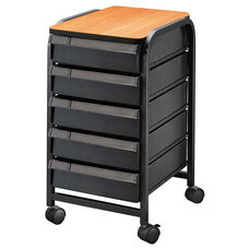 5 Drawer Mobile Organizer with PVC Laminate Surface and Edge Trim - Black - 13.75