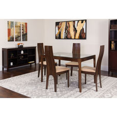 Glendale 5 Piece Espresso Wood Dining Table Set with Glass Top and Padded Wood Dining Chairs