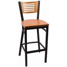 Jones River Series Wood Back Armless Barstool with Steel Frame and Wood Seat - Natural