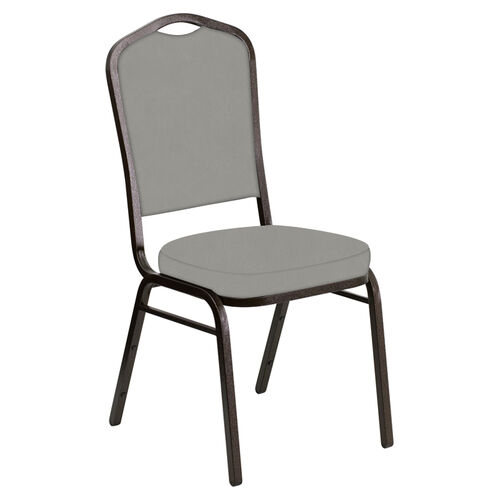 Our Embroidered Crown Back Banquet Chair in E-Z Wallaby Gray Vinyl - Gold Vein Frame is on sale now.