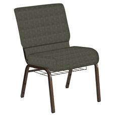 Embroidered 21''W Church Chair in Abbey Fern Fabric with Book Rack - Gold Vein Frame
