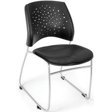Stars Stack Chair with Vinyl Seat - Black