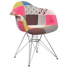 Alonza Series Milan Patchwork Fabric Chair with Chrome Base