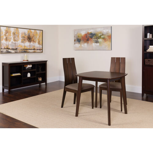 Our Barrington 3 Piece Espresso Wood Dining Table Set with Wide Slat Back Wood Dining Chairs - Padded Seats is on sale now.