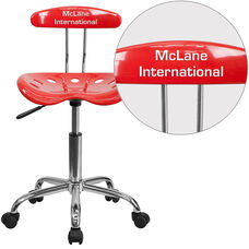 Personalized Vibrant Cherry Tomato and Chrome Swivel Task Office Chair with Tractor Seat