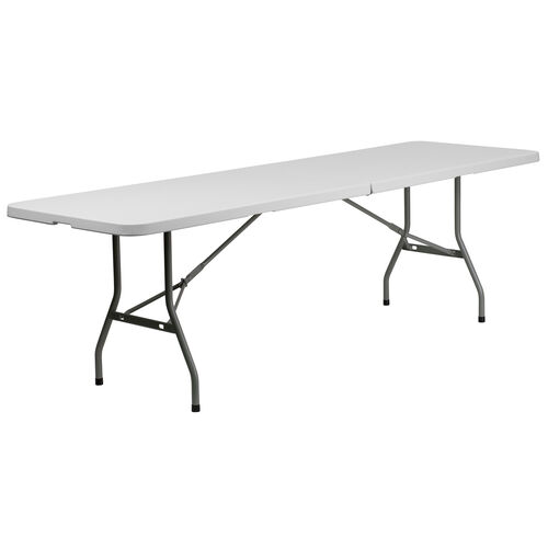 """Our 30""""W x 96""""L Bi-Fold Granite White Plastic Banquet and Event Folding Table with Carrying Handle is on sale now."""
