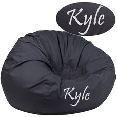Personalized Oversized Solid Gray Bean Bag Chair for Kids and Adults