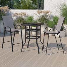 Outdoor Dining Set - 2-Person Bistro Set - Outdoor Glass Bar Table with Gray All-Weather Patio Stools