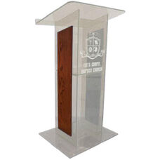 Clear ''H'' Style Acrylic Sides and Clear Floor Panel Lectern - Mahogany Finish - 27''W x 16''D x 48''H