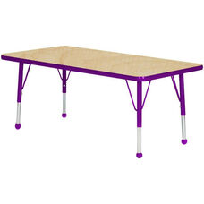 Adjustable Standard Height Laminate Top Rectangular Activity Table - Maple Top with Purple Edge and Legs - 72