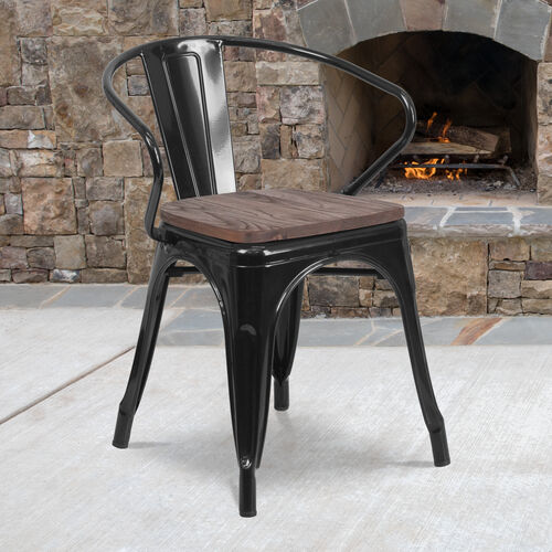 Our Black Metal Chair with Wood Seat and Arms is on sale now.
