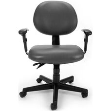 24 Hour Anti-Microbial and Anti-Bacterial Vinyl Task Chair with Arms - Charcoal