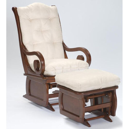 Maple Wood Sleigh Back Glider with Cornice Framed Panel - Heritage Cherry Finish