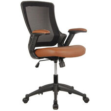 Techni Mobili Mid-Back Mesh Task Office Chair with Height Adjustable Arms - Brown