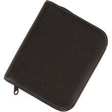 Zippered Jewelry Case - Genuine Leather - Black