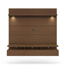 Cabrini 1.8 Theater Entertainment Center Panel with Overhead LED Lights - Nut Brown