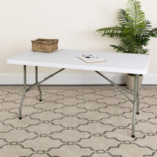 5-Foot Granite White Plastic Folding Table