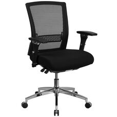 HERCULES Series 24/7 Intensive Use 300 lb. Rated Black Mesh Multifunction Ergonomic Office Chair with Seat Slider