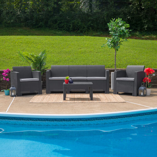 Our 4 Piece Outdoor Faux Rattan Chair, Sofa and Table Set in Dark Gray is on sale now.