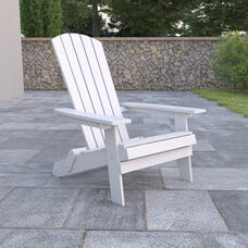 Charlestown All-Weather Poly Resin Indoor/Outdoor Folding Adirondack Chair in White