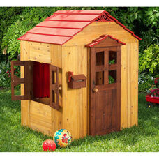 Weather Resistant Kids Size Outdoor Playhouse with Door and Wide Windows
