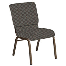 Embroidered 18.5''W Church Chair in Cirque Earth Fabric - Gold Vein Frame