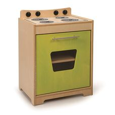 Kids Contemporary Play Stove in Vibrant Green Birch Plywood