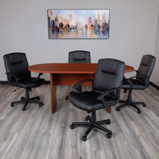 5 Piece Cherry Oval Conference Table Set with 4 Black LeatherSoft-Padded Task Chairs