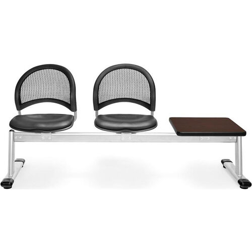 Our Moon 3-Beam Seating with 2 Charcoal Vinyl Seats and 1 Table - Mahogany Finish is on sale now.