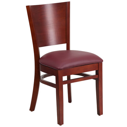 Our Mahogany Finished Solid Back Wooden Restaurant Chair with Burgundy Vinyl Seat is on sale now.