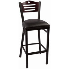 Eagle Series Wood Back Armless Barstool with Steel Frame and Vinyl Seat - Mahogany