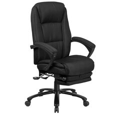 High Back Black Fabric Executive Reclining Swivel Office Chair with Comfort Coil Seat Springs and Padded Arms