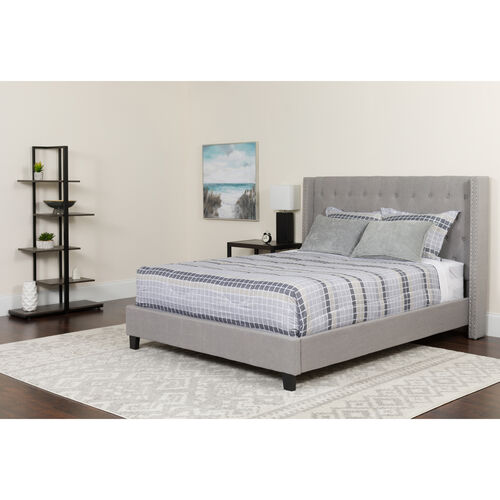 Our Riverdale Full Size Tufted Upholstered Platform Bed in Light Gray Fabric with Pocket Spring Mattress is on sale now.