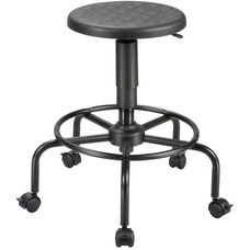 Adjustable Height Utility Stool with Footrest - Black