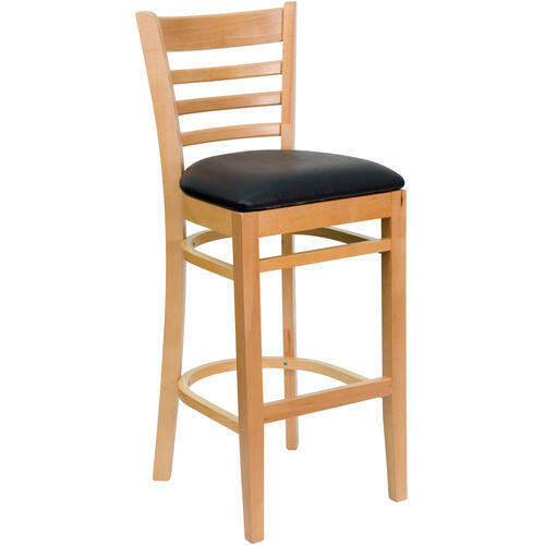 Our Natural Wood Finished Ladder Back Wooden Restaurant Barstool with Black Vinyl Seat is on sale now.