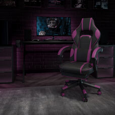 X40 Gaming Chair Racing Ergonomic Computer Chair with Fully Reclining Back/Arms, Slide-Out Footrest, Massaging Lumbar - Black/Purple