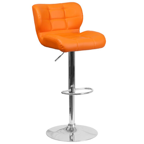 Our Contemporary Tufted Orange Vinyl Adjustable Height Barstool with Chrome Base is on sale now.