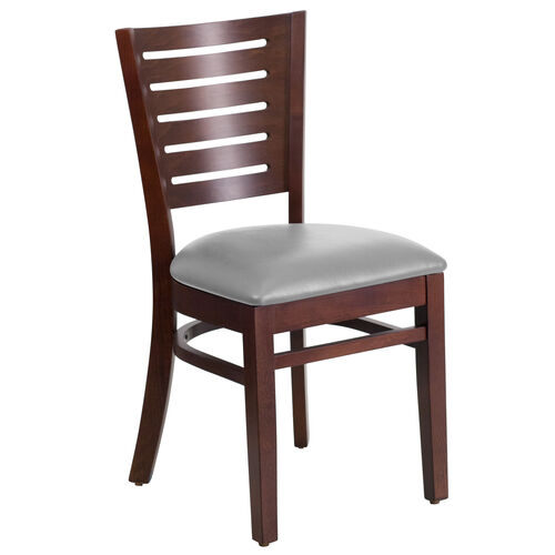 Our Walnut Finished Slat Back Wooden Restaurant Chair with Custom Upholstered Seat is on sale now.