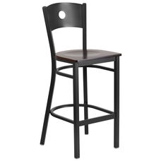 Black Circle Back Metal Restaurant Barstool with Walnut Wood Seat