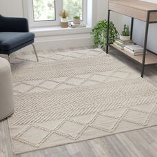 5' x 7' Ivory & White Geometric Design Handwoven Area Rug - Wool/Polyester/CottonBlend