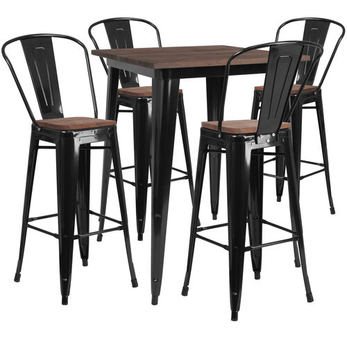"31.5"" Square Metal Bar Table Set with Wood Top and 4 Stools"
