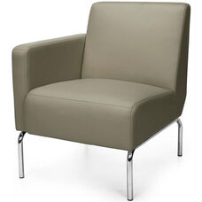 Triumph Right Arm Modular Lounge Chair with Vinyl Seat and Chrome Feet - Taupe