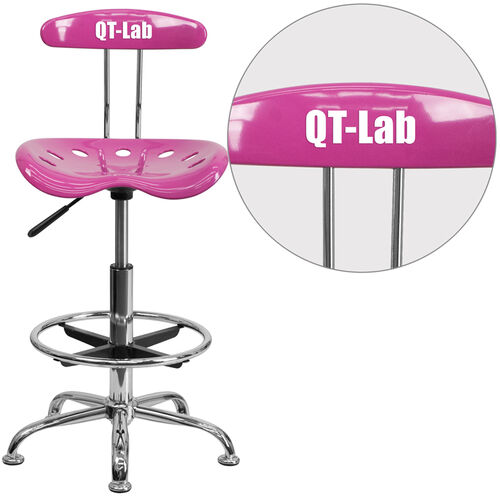Our Personalized Vibrant Candy Heart and Chrome Drafting Stool with Tractor Seat is on sale now.