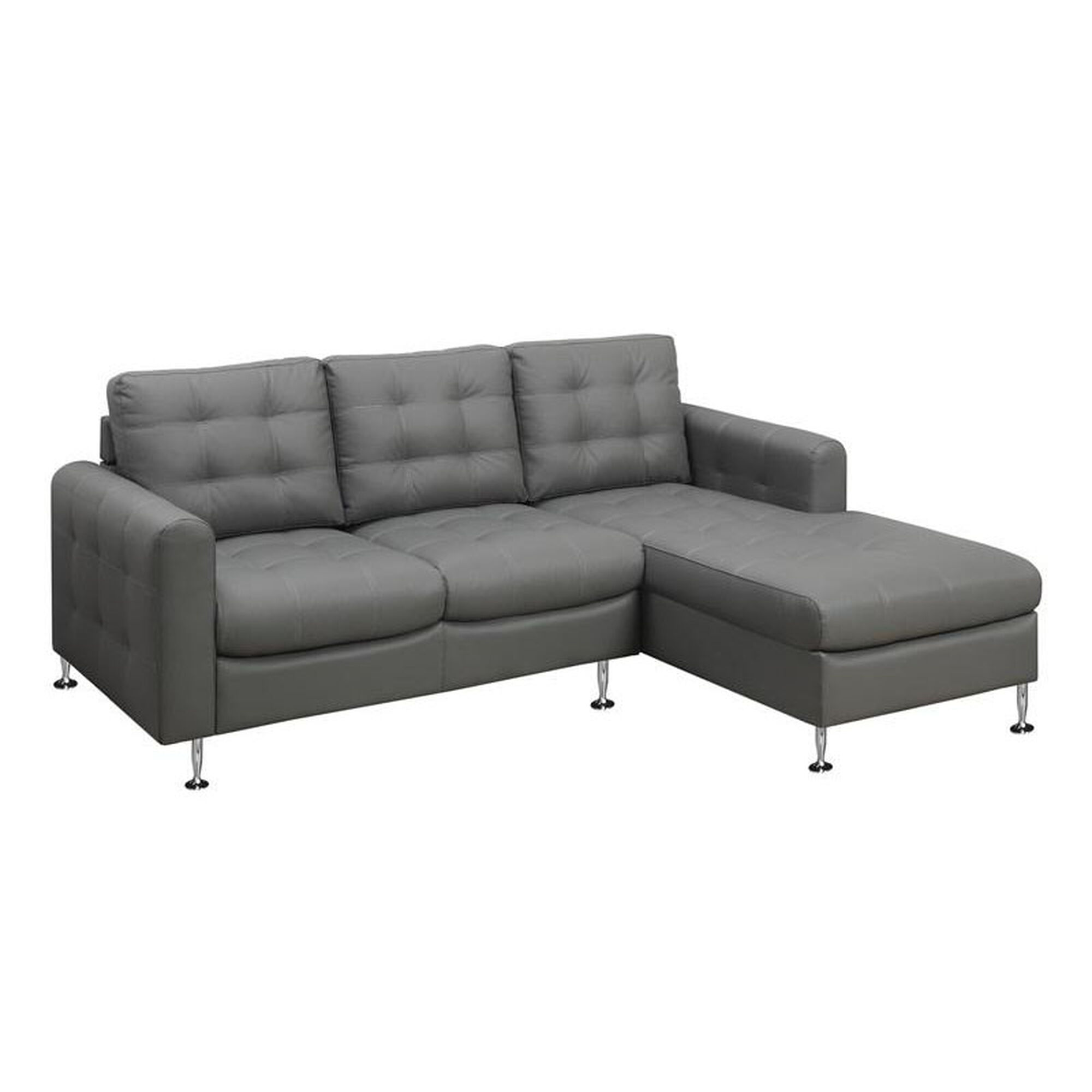 Monarch specialties bonded leather sofa with chaise for Bonded leather chaise