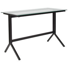 Highland Collection Glass Computer Desk with Black Metal Frame