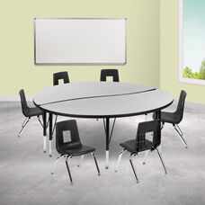 "60"" Circle Wave Collaborative Laminate Activity Table Set with 12"" Student Stack Chairs, Grey/Black"